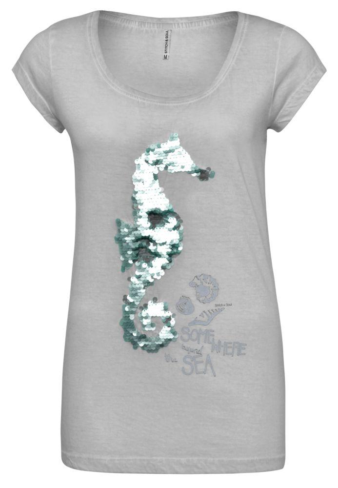 Shirt Wendepailletten Seepferd