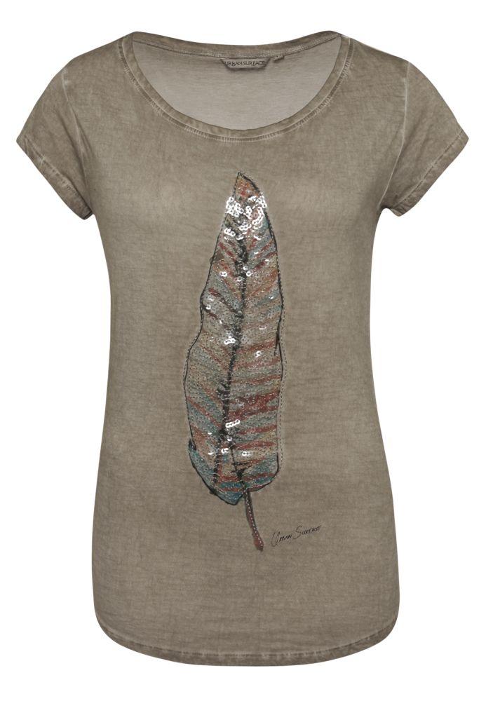 T-Shirt Pailletten-Federprint