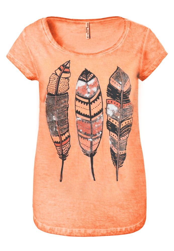 T-Shirt mit Federprint
