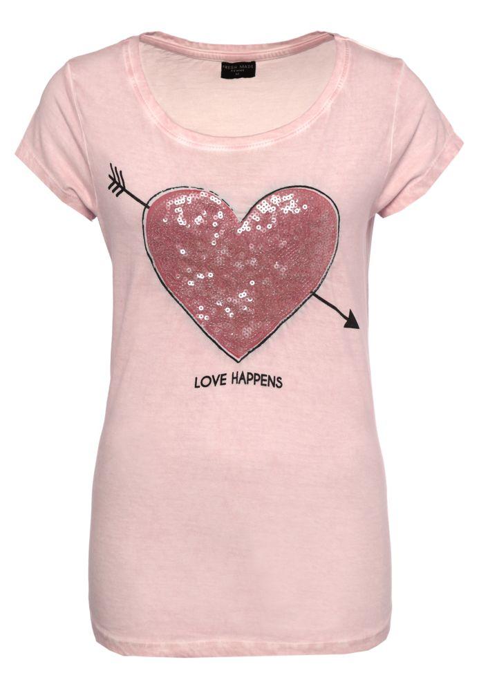 Pailletten T-Shirt mit Herz