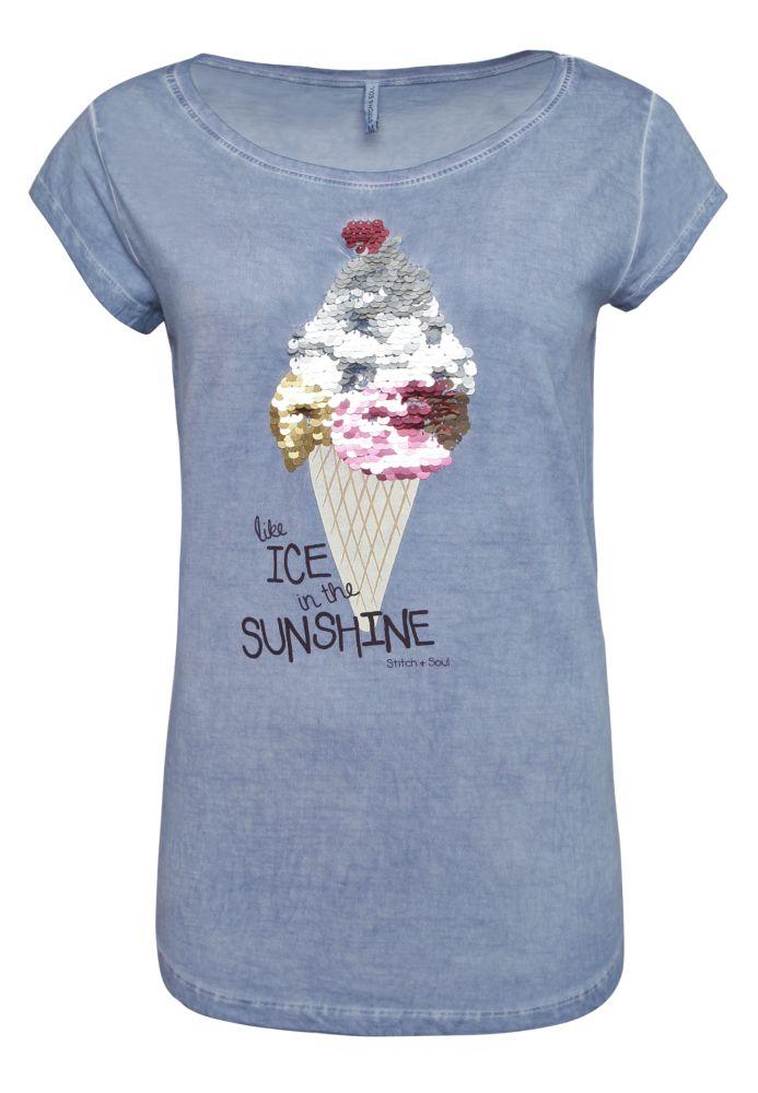 T-Shirt - Wendepailletten Eis