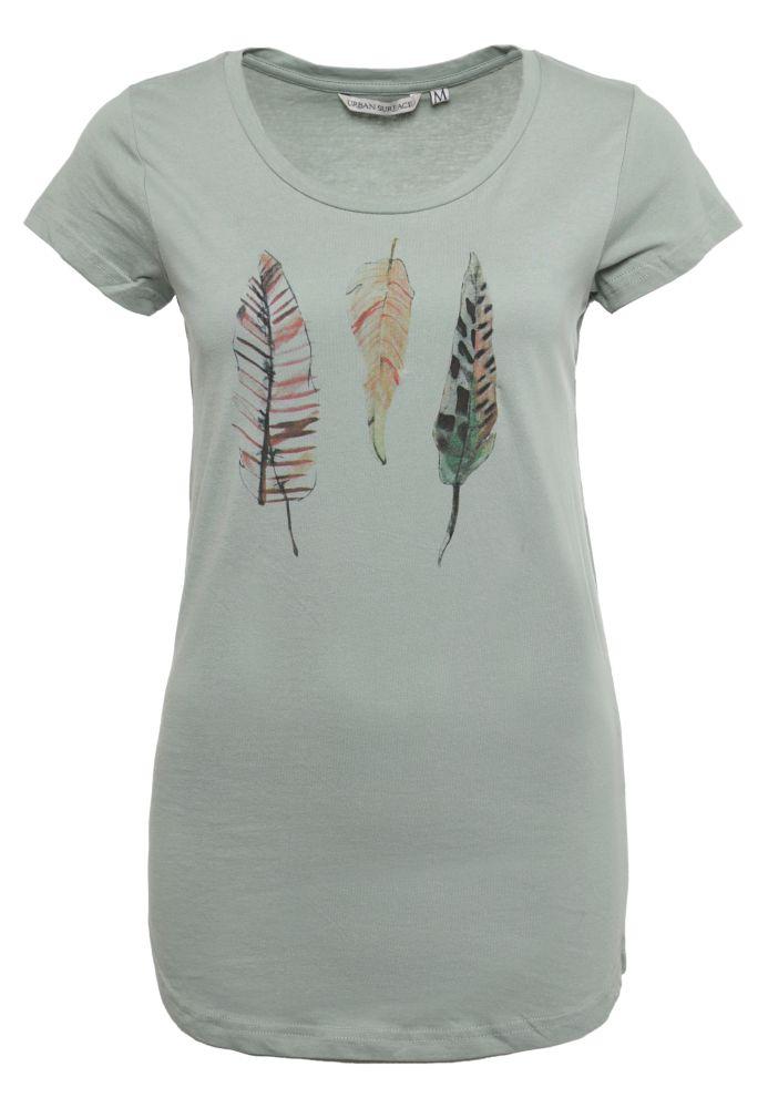 Damen T-Shirt mit Feder-Print