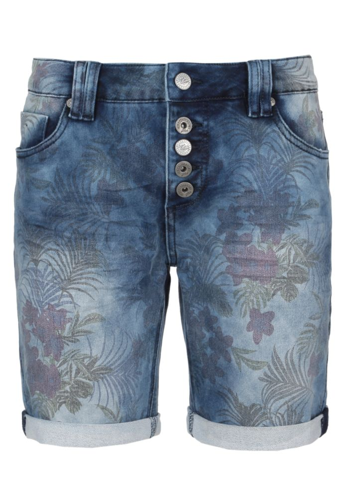 Jeans Bermuda - Blumenprint