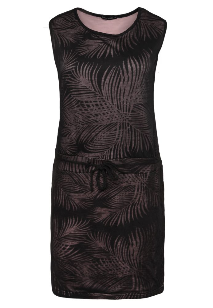 Midi Kleid mit Palmen-Muster