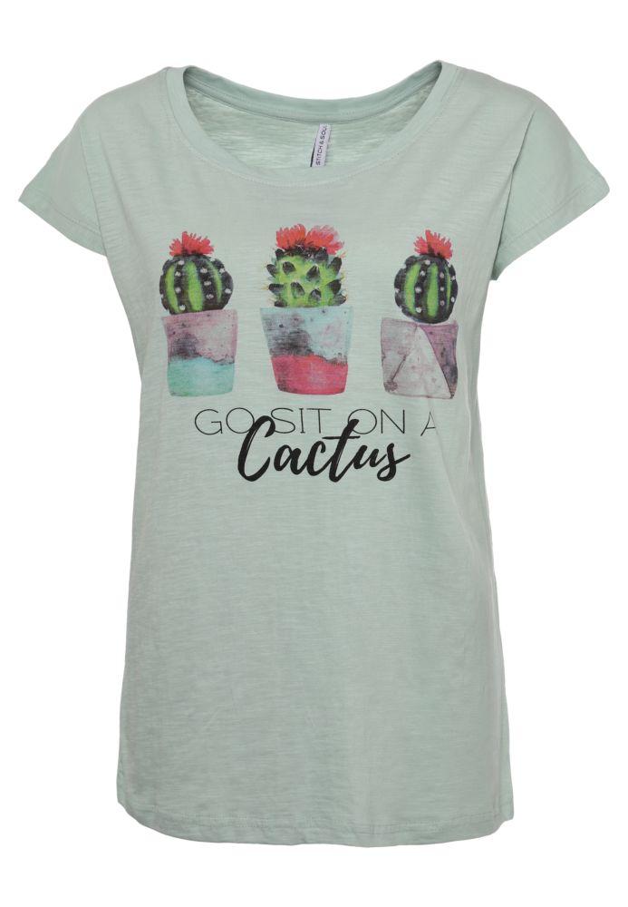 T-Shirt mit Kaktus-Print