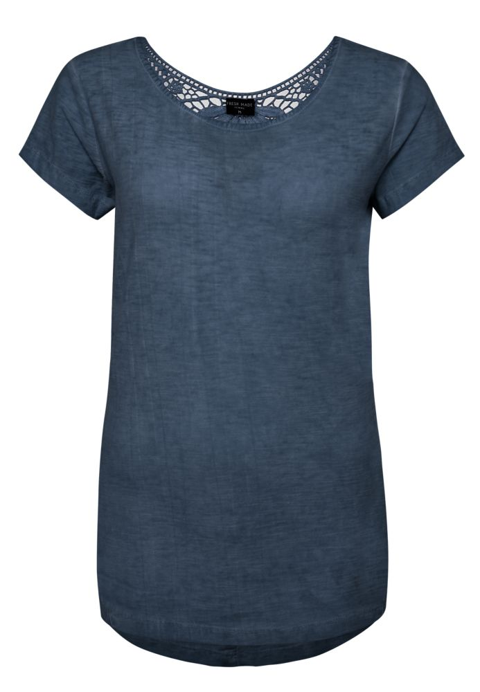 T-Shirt mit Spitze - Used Look
