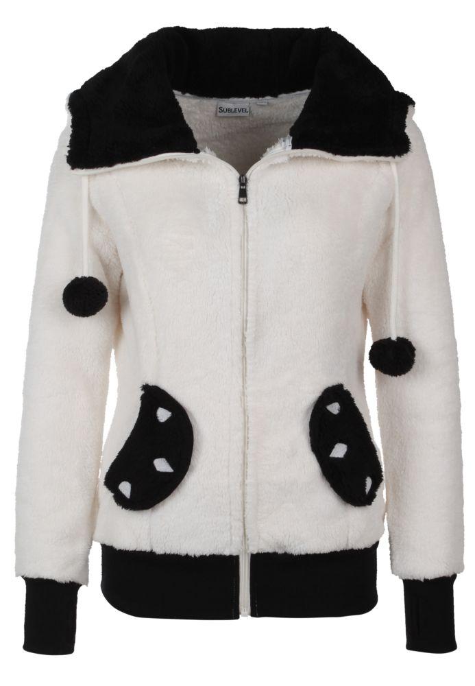 Bärige Panda-Jacke mit Öhrchen