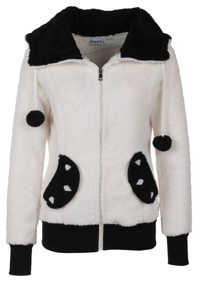 Vorschau: Bärige Panda-Jacke mit Öhrchen