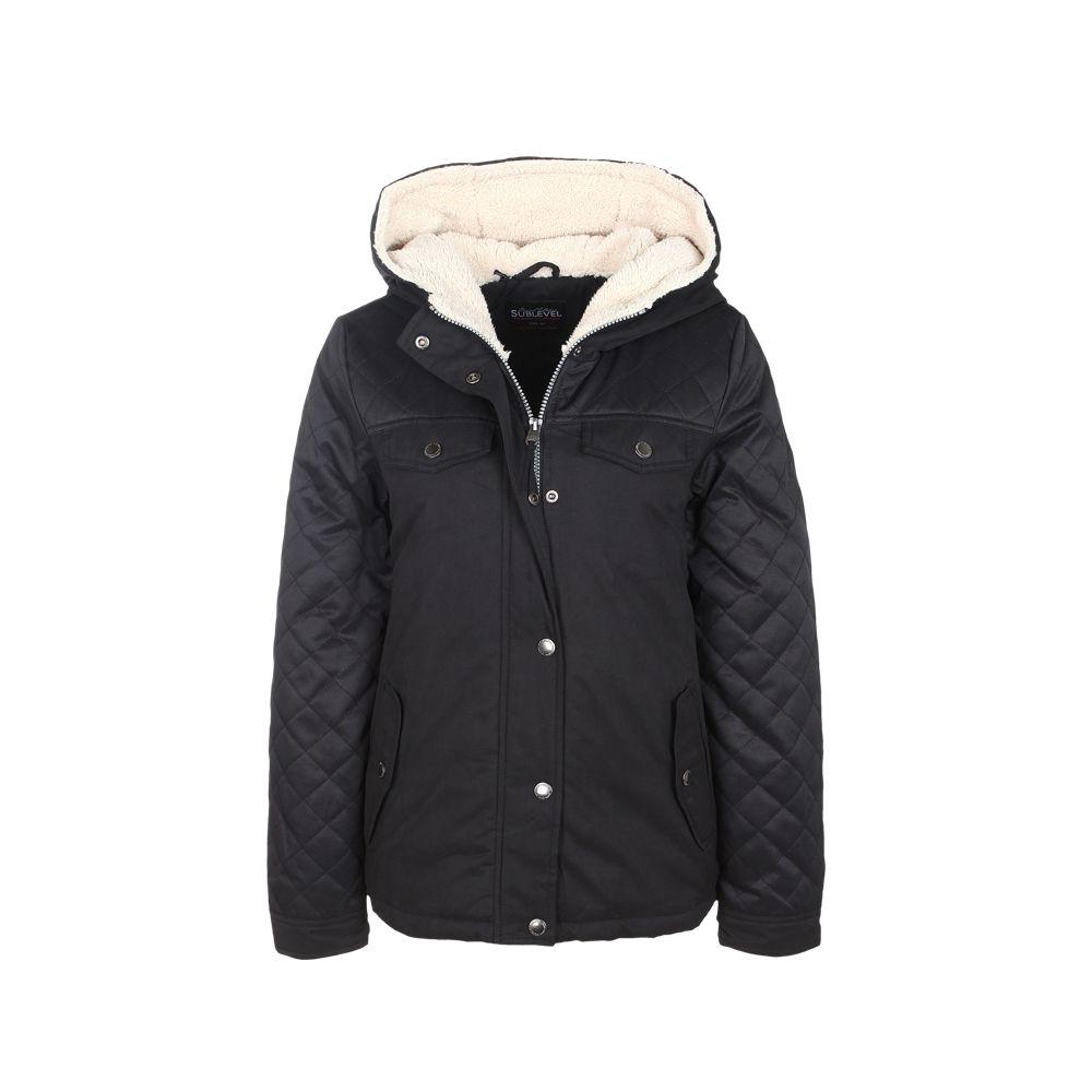 sublevel damen winterjacke mantel mit kapuze im materialmix schwarz xs s m l xl ebay. Black Bedroom Furniture Sets. Home Design Ideas