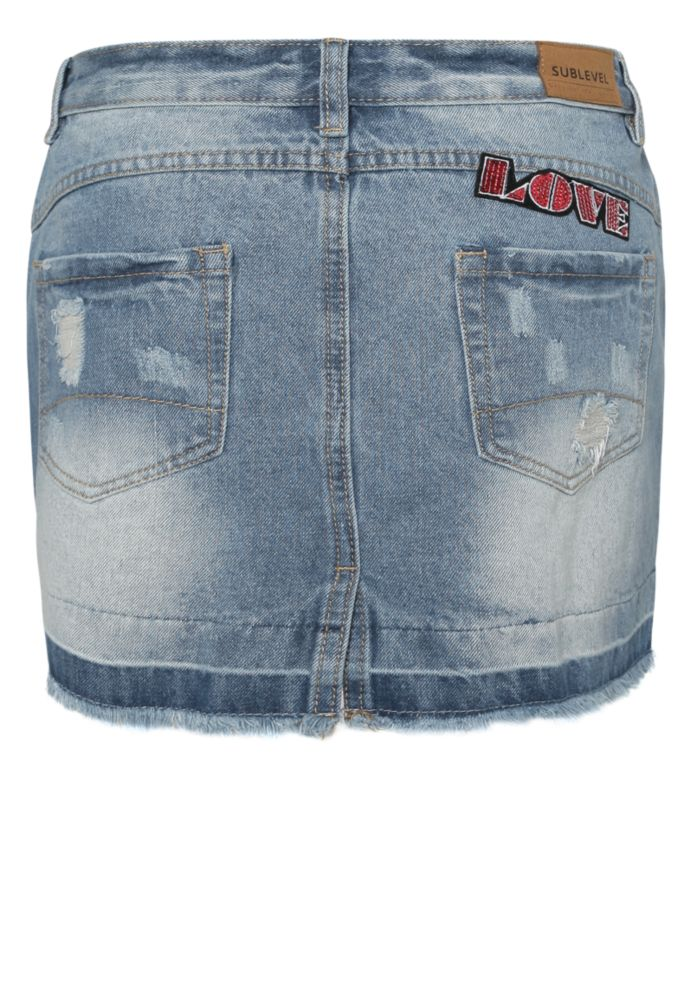 Used Jeansrock mit Patches
