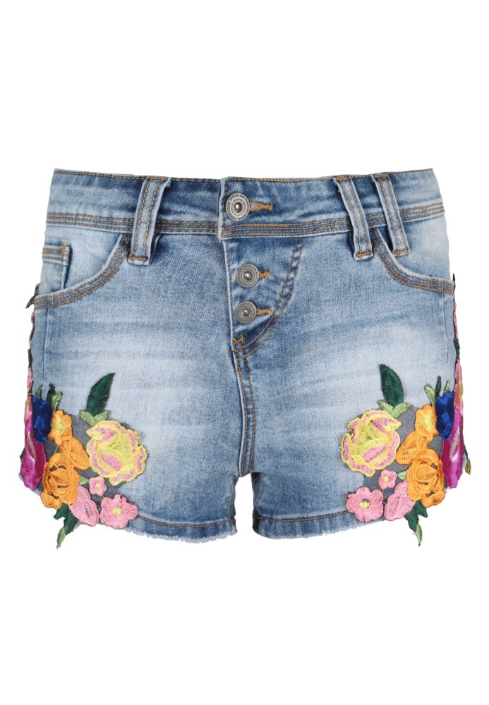 Hot Pants AMY mit Blumenstickerei