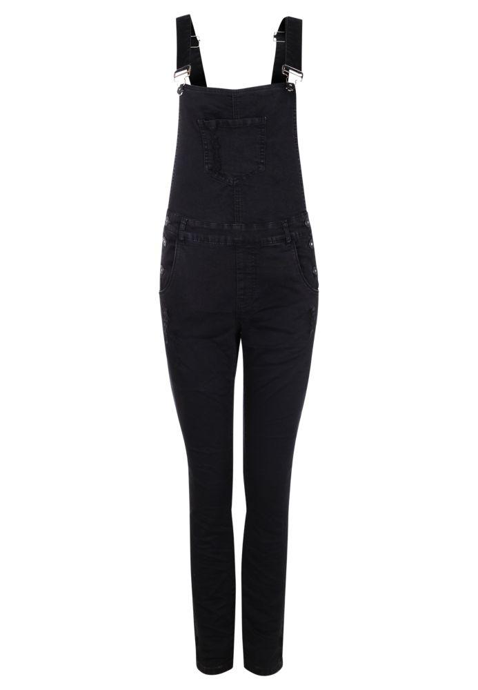 Schwarze Jeans Latzhose