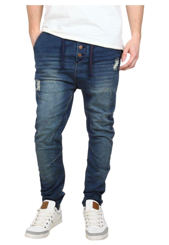 Vorschau: Dunkelblaue Used Sweat Jeans