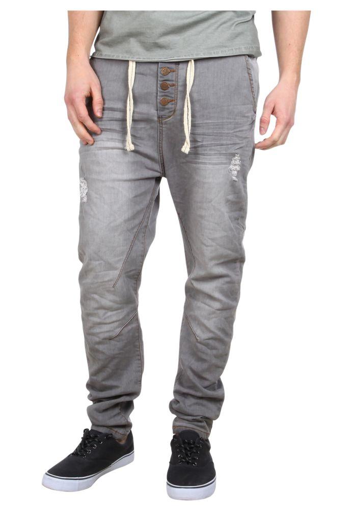 Vorschau: Graue Sweat Jeans mit Knöpfen