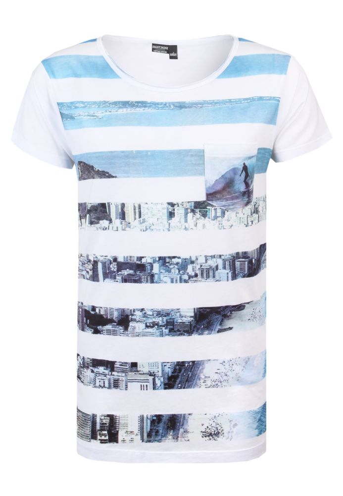 T-Shirt - Streifen-Beach-Print